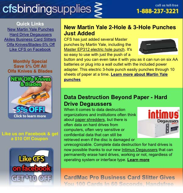 click to read the full CFS Binding Supplies newsletter