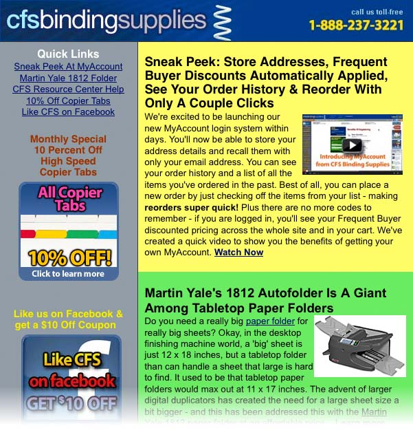 CFS Binding Supplies 10-13 Newsletter