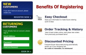 Registration will allow you to store your billing and shipping info on your own account.