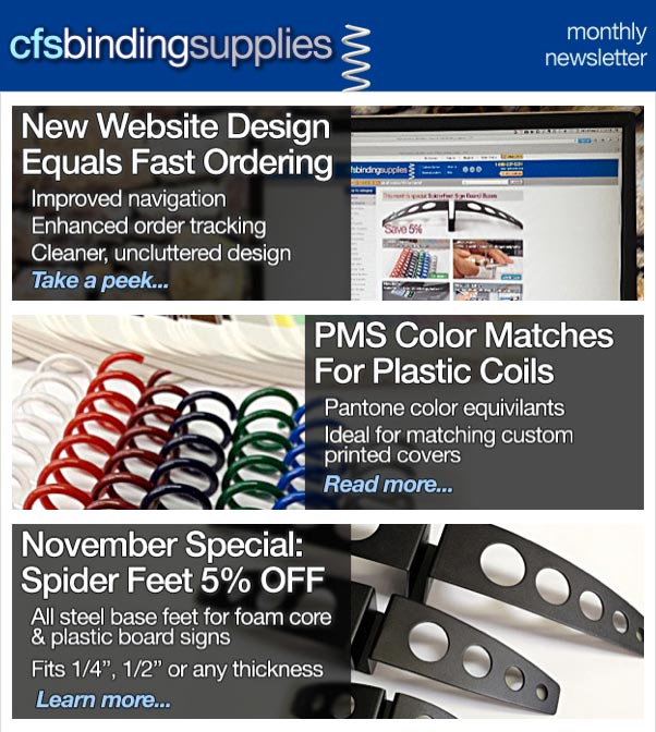 CFS Binding Supplies Newsletter 11-2013