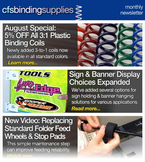 CFS Binding Supplies Newsletter 08-14