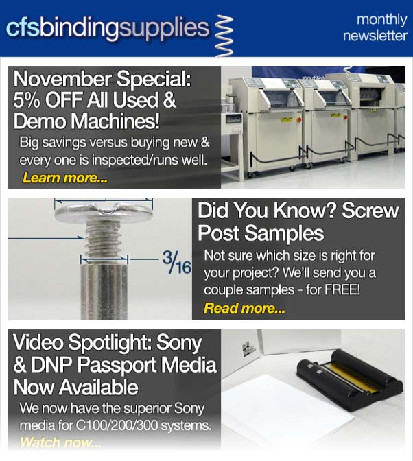 CFS Binding Supplies November 2014 Newsletter