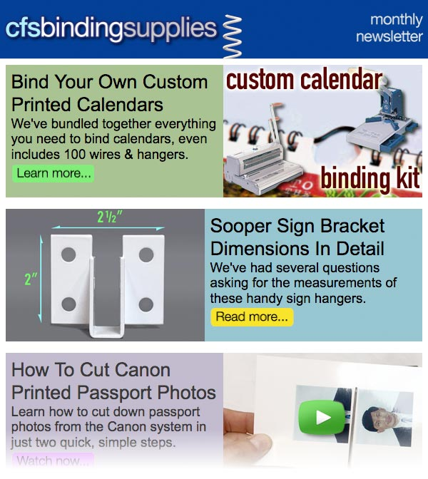 Read the full CFS Binding Supplies newsletter